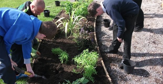 Silloth youngsters help plant the new Community Garden