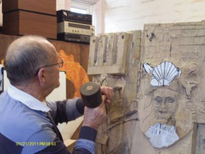 Mike carving neptune in early stages
