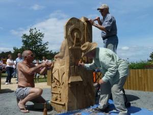 Working on Story telling Chair in situ 22 June 2014