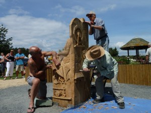 Working on story telling chair in situ 5 22 June 2014