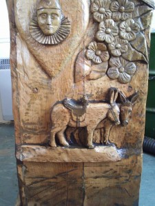 donkeys and pierrots on chair oiled